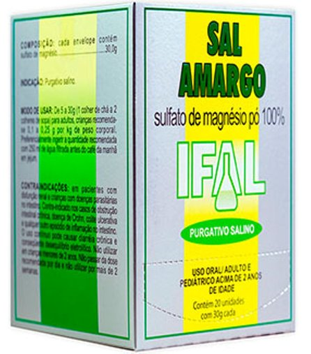 Sal Amargo Sulfato de Magnésio com 20 Sache 30g - Ifal