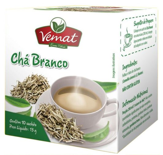 Chá Branco com 10 sachês 13g - Vemat