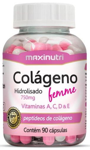 Colágeno Hidrolisado Femme Maxinutri 750mg 90 Cápsulas