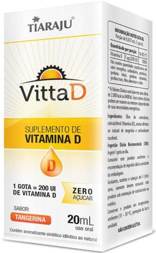 Vitamina D em gotas Vitta D 2000UI 20 ml Sabor Tangerina - Tiaraju