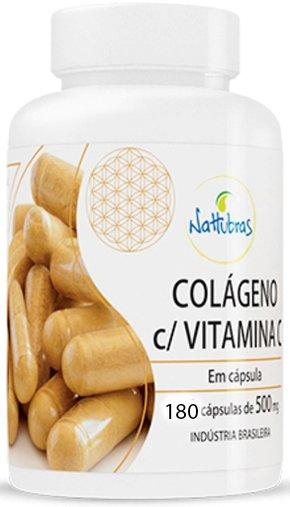 Colágeno com Vitamina C Nattubras 500mg 180 Cápsulas