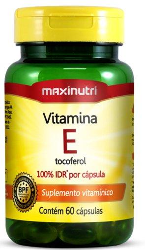 Vitamina E Tocoferol 10mg 100% IDR 60 cápsulas Maxinutri