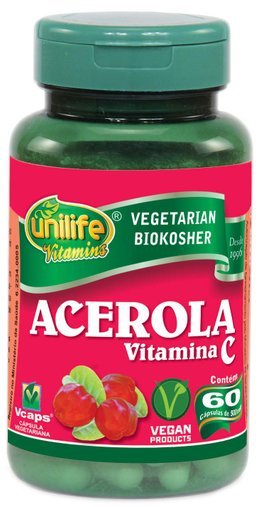 Acerola Vitamina C 500mg Unilife 60 Cápsulas