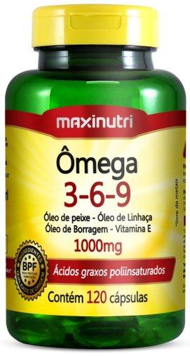 Ômega Triplo 3 6 9 Óleos de Peixe Linhaça Borragem com 120 cápsulas 1000 mg Maxinutri