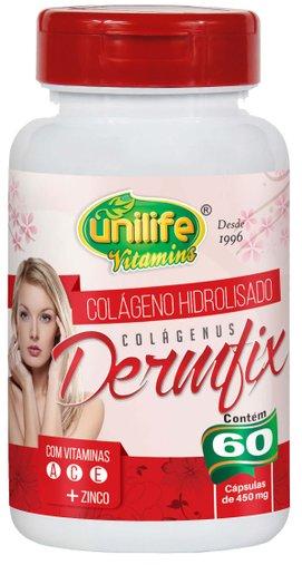 Dermfix Colágeno Hidrolisado com Vitamina A C E e Zinco 60 Cápsula 450mg - Unilife