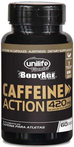 Caffeine Action Cafeína para Atletas 60 Cápsulas 420mg - Unilife