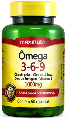 Ômega Triplo 3 6 9 Óleos de Peixe Linhaça Borragem 1000 mg 60 cápsulas Maxinutri