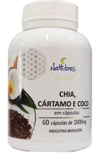 Óleo de Chia, Cártamo e coco 60 cápsulas de 1000mg - Nattubras