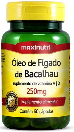 Óleo de Fígado de Bacalhau 250mg 60 cápsulas Maxinutri