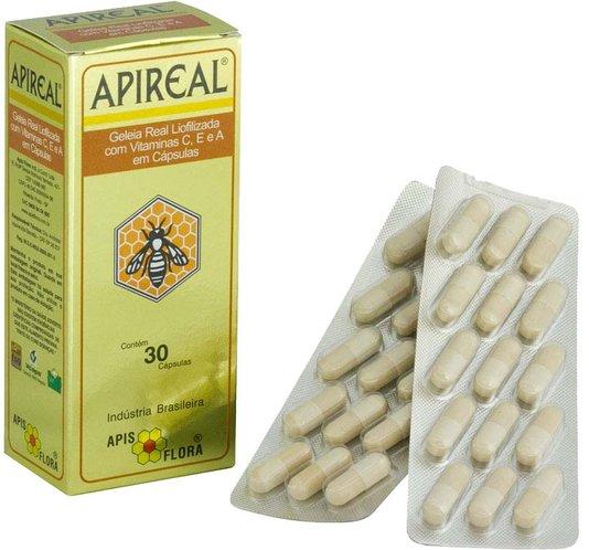 Apireal Geleia Real Natural Liofolizada 30 cápsulas com vitamina C, E e A - Apis Flora