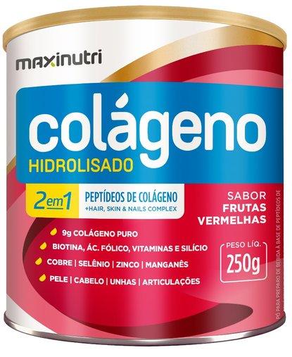 Colágeno Hidrolisado 2 em 1 Maxinutri 250gr Sabor Frutas Vermelhas