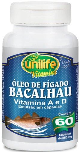 Óleo de Fígado de Bacalhau Vitamina A e D  60 Cápsulas 350mg -Unilife