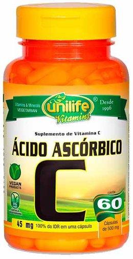 Ácido Ascórbico - Vitamina C  60 Cápsulas 500mg - Unilife