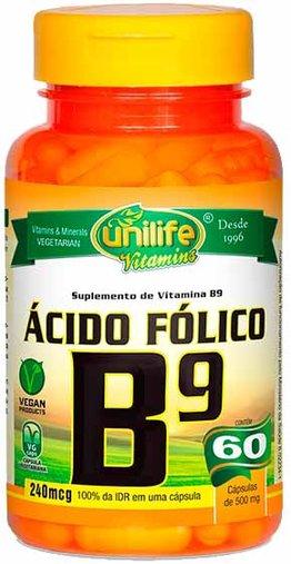 Ácido Fólico Vitamina B9  60 Cápsulas 500mg - Unilife
