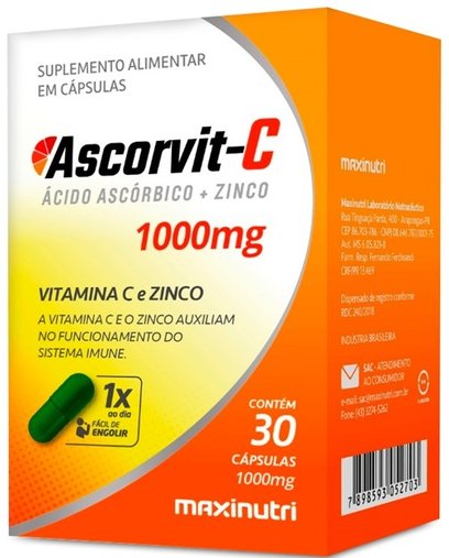 Ascorvit-C Acido Ascorbico + Zinco 1000mg 30 cápsulas Maxinutri