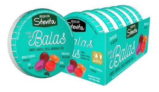 Bala Stevita Mix de sabores Display 6 unds 40g Stevia Soul
