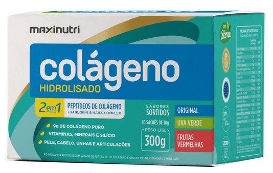 Colágeno Hidrolisado 2 em 1 Maxinutri 300gr 30 saches Sabores Sortidos