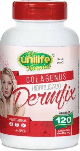 Colágenus Hidrolisado Dermfix com Vitaminas A C E e Zinco 120 cps 450mg - Unilife