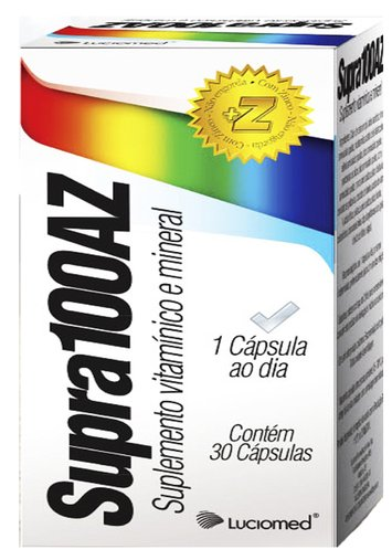 Supra 100AZ  Suplemento Vitamínico e Mineral 1000mg 30 Cápsulas - 7898075540841