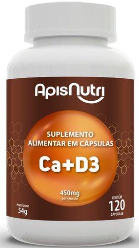 Cálcio + Vitamina D3 ( Ca+D3) 450mg 120 cápsulas Apsinutri