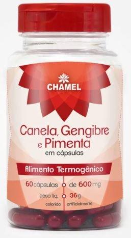 Canela, Gengibre e Pimenta 60 cápsulas de 600mg - Chamed