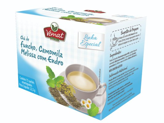 Chá Misto de Funcho Camomila Melissa e Endro 10 sachês 13g
