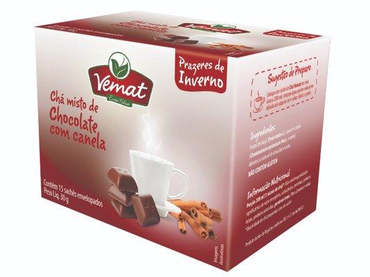 Chá Misto Maçã com Canela Sabor Chocolate 15 sachês 30g Vemat