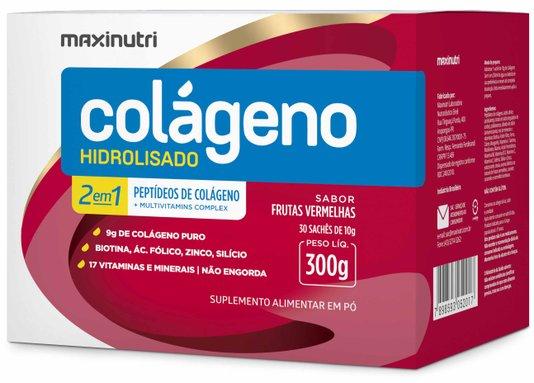 Colágeno Hidrolisado 2 em 1 Sabor Frutas Vermelhas Maxinutri 300 gr 30 sachês