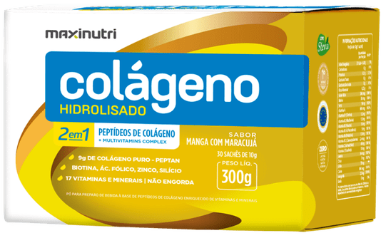 Colágeno Hidrolisado 2 em 1 Sabor Manga com Maracujá Maxinutri 300 gr 30 sachês