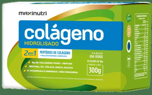 Colágeno Hidrolizado 2 em 1 Peptídeos de Colágeno + Multivitamins Complex 300g 30 sachês de 10 gr Maxinutri Sabor Uva Verde