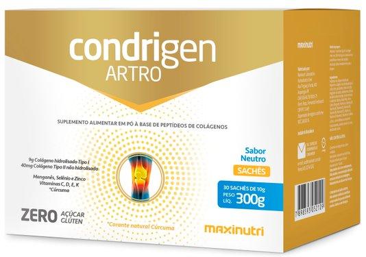 Condrigen Artro Colageno Peptan + Tipo II 30 sachês  Maxinutri Sabor Neutro