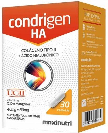 Condrigen HA (Colágeno tipo II 40mg + Ácido Hialurônico 80mg) 30 cápsulas Maxinutri