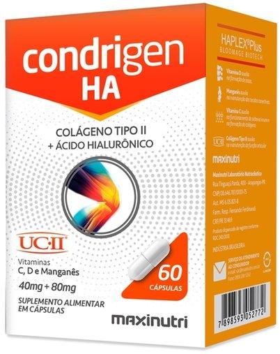 Condrigen HA (Colágeno tipo II 40mg + Ácido Hialurônico 80mg) 60 cápsulas Maxinutri