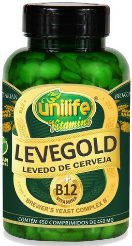 Levegold Levedo de Cerveja com Vitamina B12 450 Comprimidos 450mg - Unilife