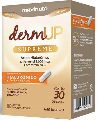 Dermup Supreme com Ácido Hialurônico D-Pantenol e Vitamina C 30 cápsulas Maxinutri