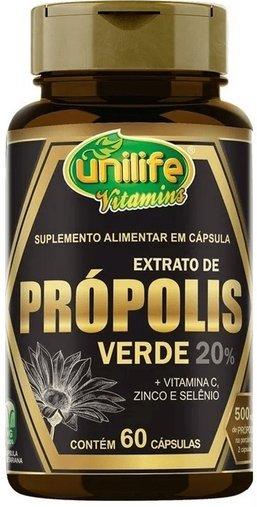 Extrato de Própolis Verde 20% 250mg 60 cápsulas Unilife