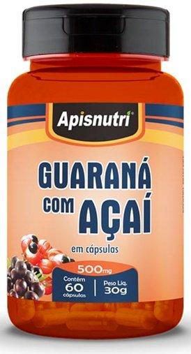 Guaraná com Açaí 500mg 60 cápsulas Apisnutri