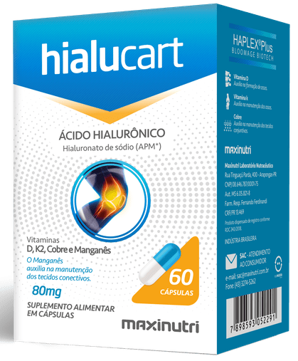 Hialucart Ácido Hialurônico 80mg Maxinutri
