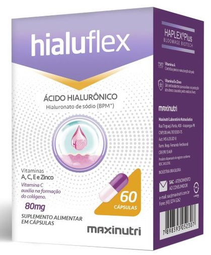 Hialuflex Ácido Hialurônico BPM 80mg 60 cps Maxinutri
