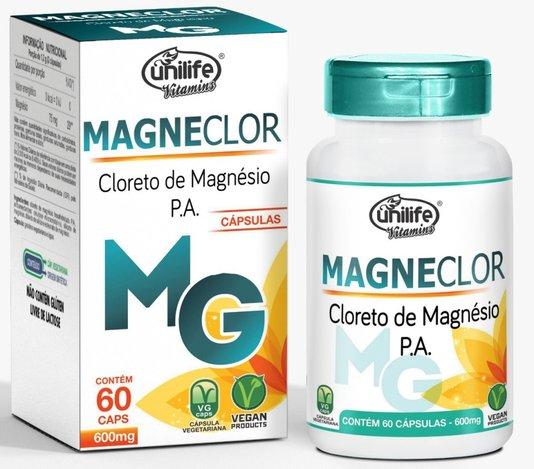 Magneclor Cloreto de Magnésio 600mg 60 cápsulas Unilife