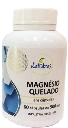 Magnésio Quelato 60 cápsulas 500mg - Nattubras
