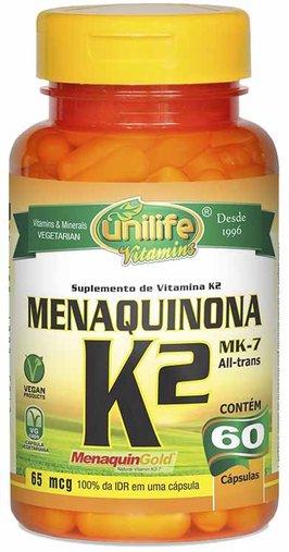 Menaquinona - Vitamina K2 60 Cápsulas 65 mcg - Unilife