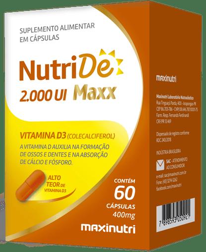NutriDe 2000 UI MAXX Vitamina D3 2000UI 60 cápsulas Maxinutri