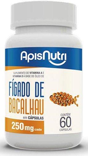 Óleo de Fígado de Bacalhau 250mg 60 cápsulas Apisnutri