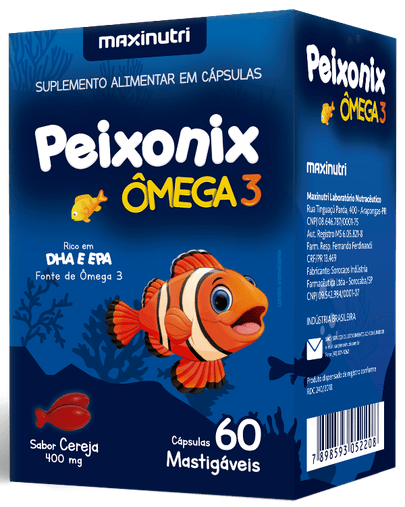Peixonix Ômega 3 400mg Sabor Cereja 60 Cápsulas Mastigáveis Maxinutri