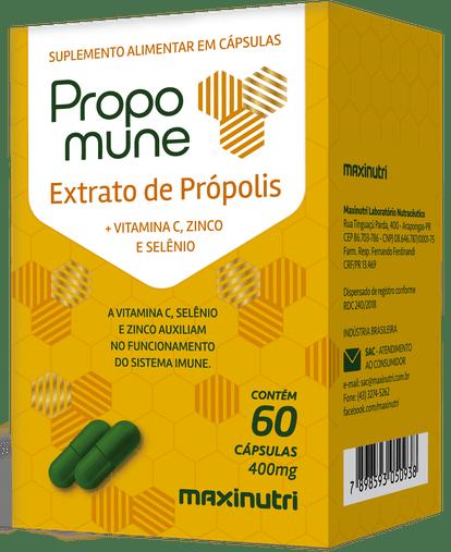 Propomune (Própolis + Vitamina C+ Zinco + Selenium) 60 cápsulas 400mg Maxinutri