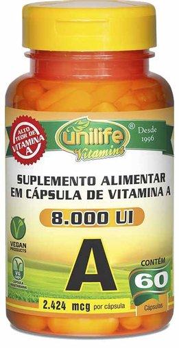 Retinol Vitamina A  60 Cápsulas 500mg - Unilife