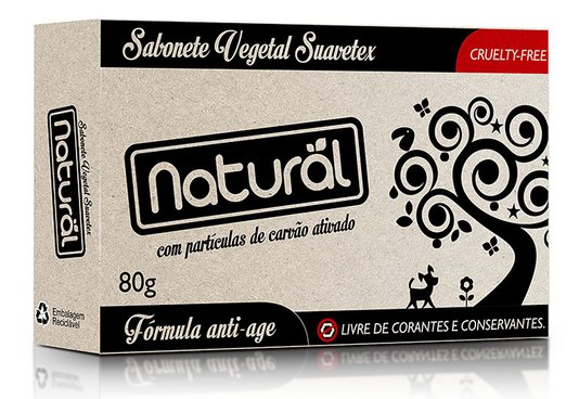 Sabonete Suavetex Natural Com Particulas de Carvão Ativado 80g - Suavetex