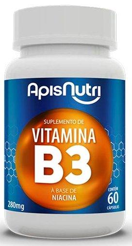Vitamina B3 280mg 60 cápsulas à base de Niacina Apisnutri