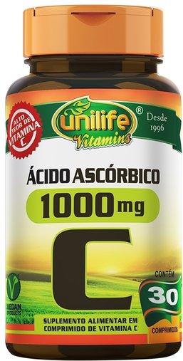 Vitamina C Ácido Ascórbico 1000mg 30 comprimidos Unilife